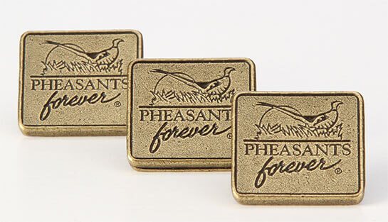 Three gold pins with Pheasant forever on the front