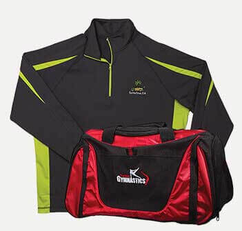 Embroidered green jacket and red sports bag