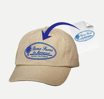 Tan cap with circular blue logo applied on the front