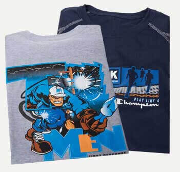 Two gray and blue shirts with screen printed graphics