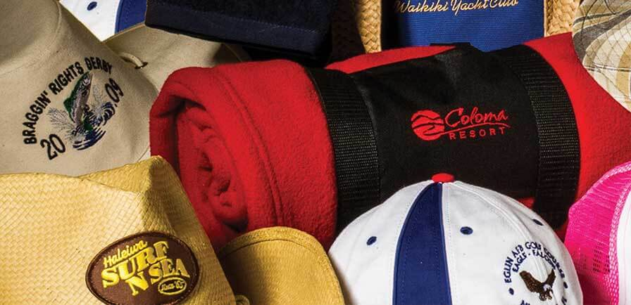 Embroidered hats, bags, and towels
