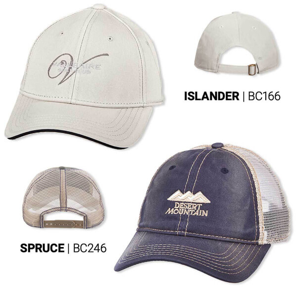 White Islander hat and grey and blue Spruce hat with embroidered logos on the front