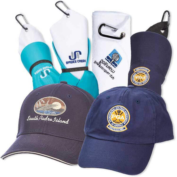 Embroidered caps and towels with golf logos on the front