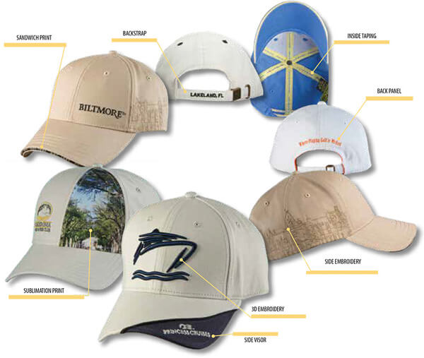 Caps in a circle with a variety of embroidered graphics on different sides