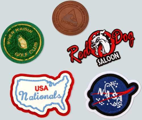 Five colorful patches in different shapes and sizes