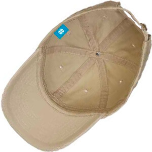 Underside of cap with blue tag with a logo on it