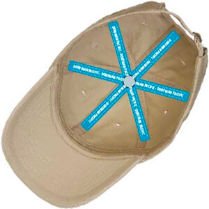 Underside of cap with blue taping with text on it