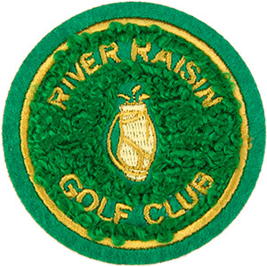 Green fuzzy patch with gold text and golf bag graphic
