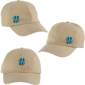 Three caps with a logo on the fronts and sides