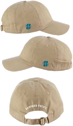 Three caps with logos on the sides and text on the back