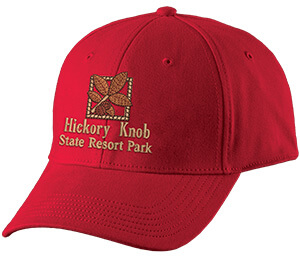 Red structured cap with brown embroidered artwork on the front