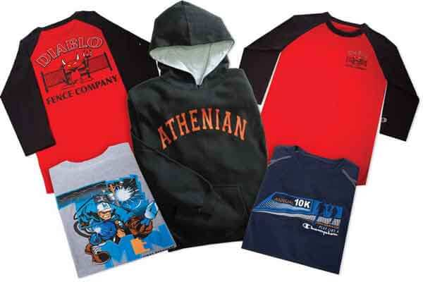 Shirts and a hoody with screen printed graphics on the front