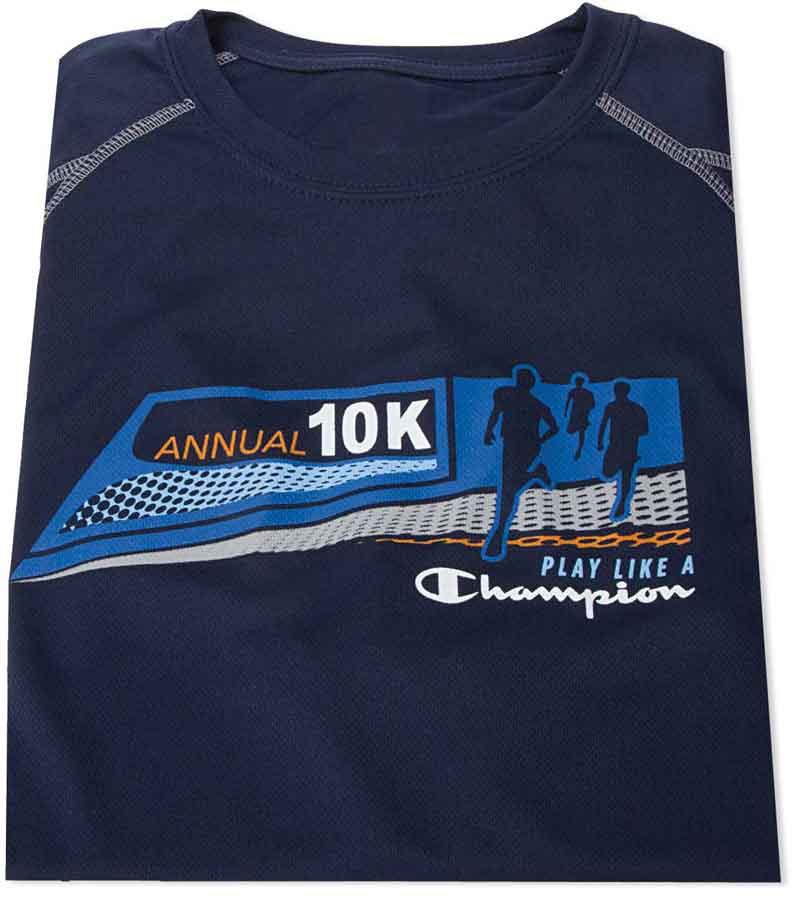 Navy blue shirt with a grahpic of people running a marathon