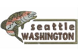 Seattle Washingon with a brown trout fish