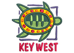Key West with a green turtle over the text